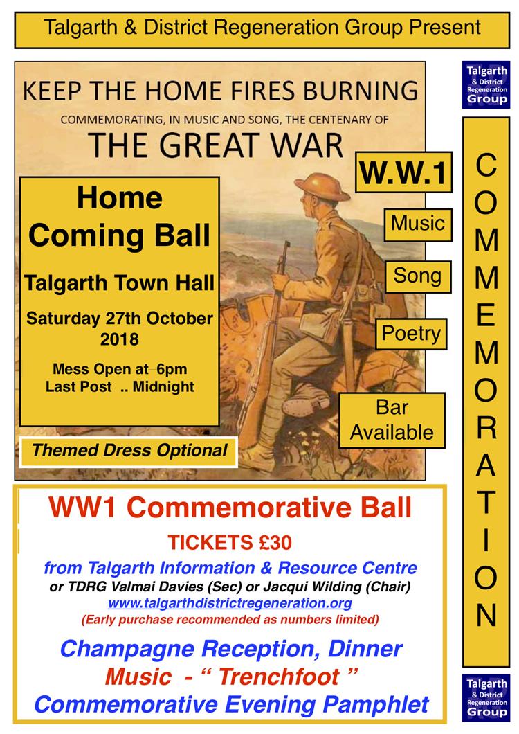 WW1 BALL - TALGARTH COMMEMORATES - TICKETS ON SALE