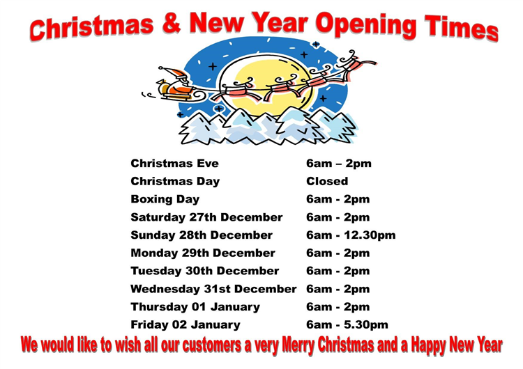 Talgarth Stores Opening Times for Christmas